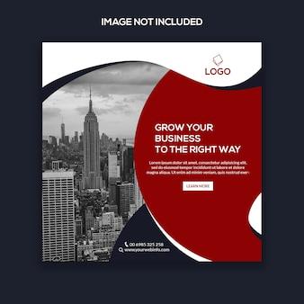 Marketing na instagramie post, kwadratowy baner lub szablon ulotki