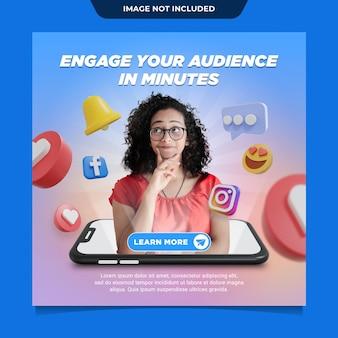 Marketingowy szablon postu w mediach społecznościowych instagram