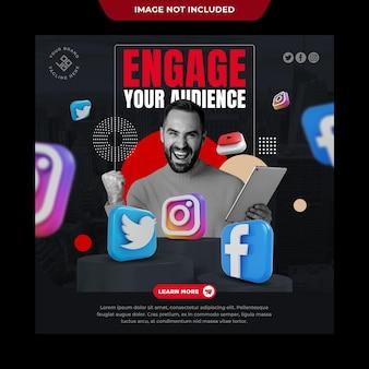 Marketingowy szablon postu w mediach społecznościowych na instagramie
