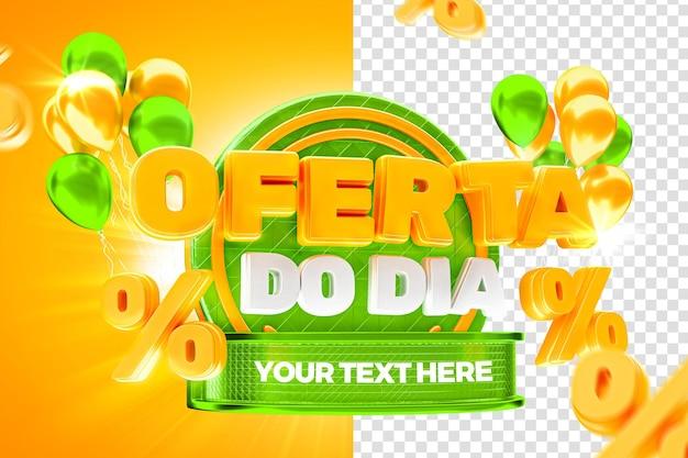 Marketowa oferta zielonych etykiet dnia 50 procent brazylijskiej kampanii renderowania 3dd
