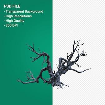 Martwe drzewo renderowania 3d na białym tle