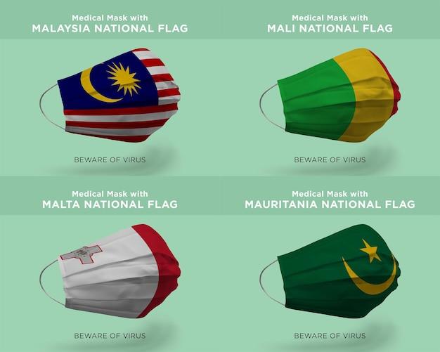 Maska medyczna z flagami malezji mali, malty i mauretanii