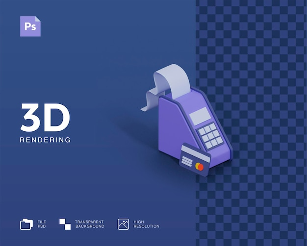 Maszyna do płatności 3d z ilustracją karty kredytowej