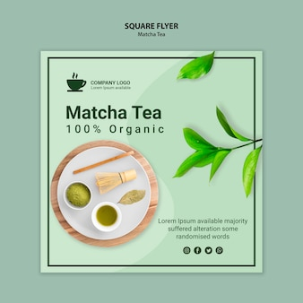 Matcha szablon projektu ulotki herbaty