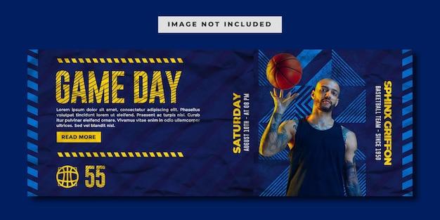 Mecz koszykówki w mediach społecznościowych szablon banera na facebooku