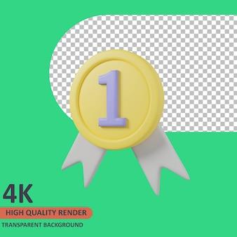 Medal 3d edukacja ikona ilustracja wysokiej jakości render