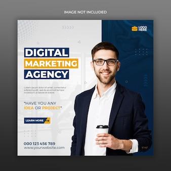 Media społecznościowe agencji marketingu cyfrowego i szablon postu na instagramie