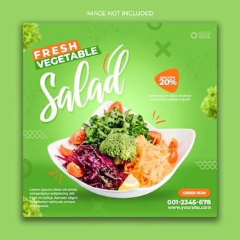 Media społecznościowe baner po zielonej sałacie z jedzeniem