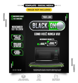Media społecznościowe czarny piątek online z produktami w świetnych ofertach