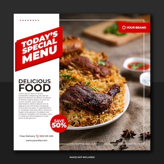 Media społecznościowe czerwony biały styl żywności