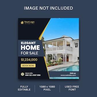 Media społecznościowe dotyczące nieruchomości i szablon postu na instagramie