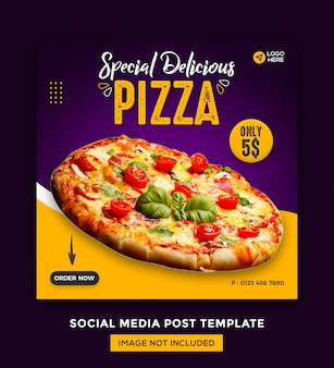 Media społecznościowe foods i szablon postów na instagramie