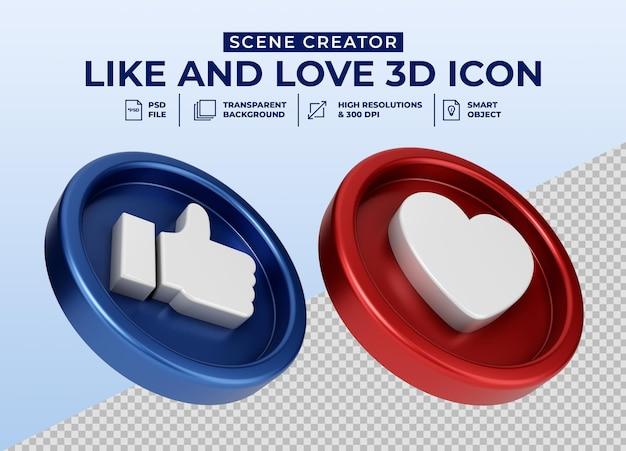 Media społecznościowe like and love minimalistyczna ikona przycisku 3d dla twórcy scen