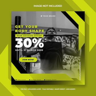 Media społecznościowe lub szablon transparent kwadratowy na fitness i siłownię