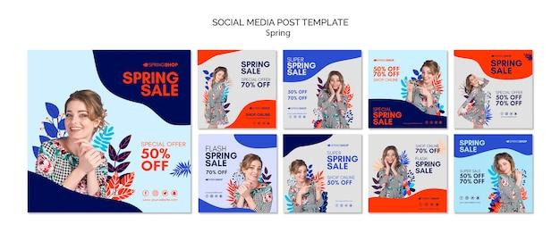 Media społecznościowe po wiosennej sprzedaży z kobietą i liśćmi