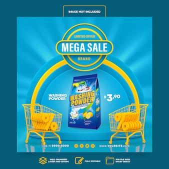 Media społecznościowe post instagram mega sprzedaż supermarket 3d render