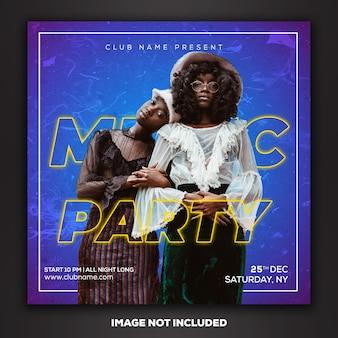 Media społecznościowe post instagram szablon dj club party music