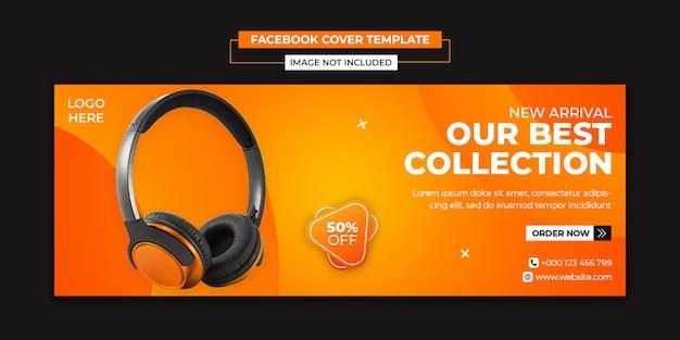 Media społecznościowe produktu marki słuchawek i szablon posta na okładkę na facebooku
