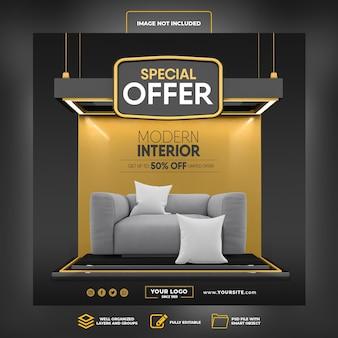 Media społecznościowe publikują specjalną ofertę na instagramie do 50 procent renderowania 3d modern interior