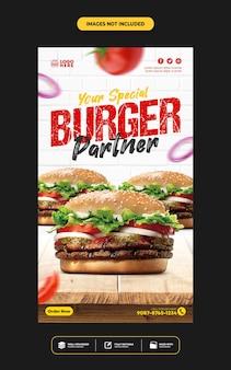 Media społecznościowe publikują szablon historii na instagramie dla menu restauracji