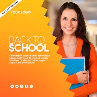 Media społecznościowe z żółtym sztandarem z powrotem do szkoły