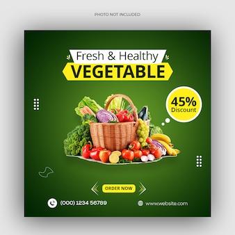 Media społecznościowe zdrowej żywności warzywnej i szablon postu na instagramie