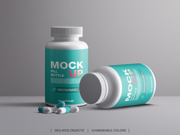 Medycyna witaminy pigułki butelki plastikowe pojemniki do pakowania makieta z kapsułkami na białym tle