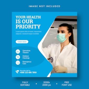 Medycyna zdrowotna w mediach społecznościowych i baner postu na instagramie