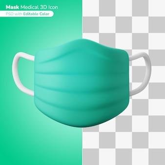 Medyczna maska ochronna na twarz ilustracja 3d ikona 3d edytowalny kolor na białym tle