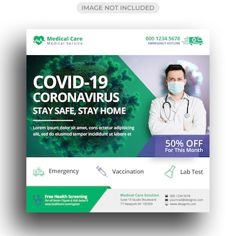 Medyczna Opieka Zdrowotna Szablon Mediów Społecznościowych Premium Psd