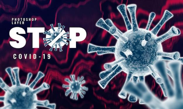 Medyczne mikroskopijne korona słoneczna wirusowe komórki zamykają w górę tła 3d renderingu