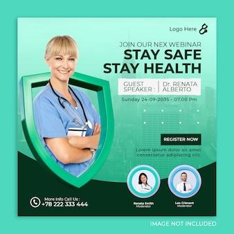 Medyczny baner opieki zdrowotnej szablon postu na instagramie w mediach społecznościowych