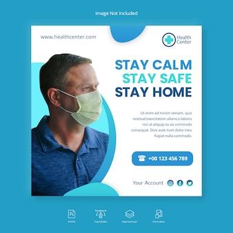 Medyczny sztandar zdrowia pozostań w domu w mediach społecznościowych