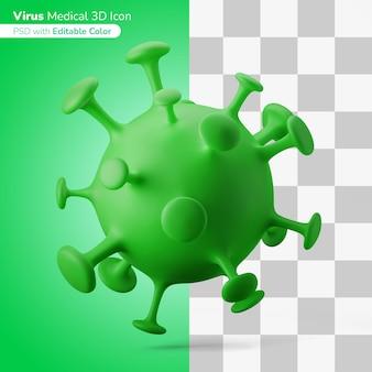 Medyczny wirus zakaźny ilustracja 3d ikona 3d edytowalny kolor na białym tle