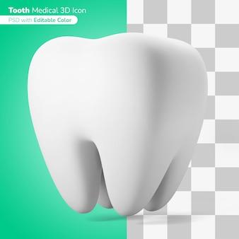 Medyczny ząb ilustracja 3d ikona 3d edytowalny kolor na białym tle