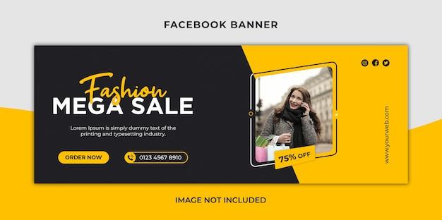 Mega wyprzedaż w czarny piątek w mediach społecznościowych, okładka na facebooka i szablon banera internetowego