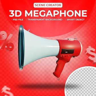 Megafon 3d dla twórcy scen renderowania 3d na białym tle
