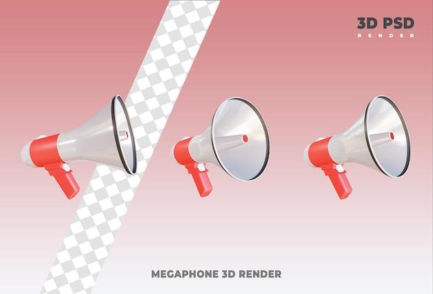 Megafon 3d render ikona odznaka na białym tle