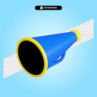 Megafon 3d render ilustracja na białym tle