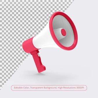 Megafon 3d w renderowaniu 3d na białym tle