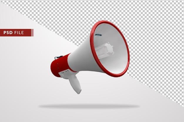 Megafon czerwony i biały kolor 3d na białym tle