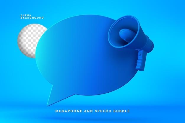 Megafon z dymek renderowania 3d