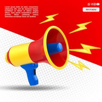 Megafon Z Lampą Błyskową Na Białym Tle Premium Psd