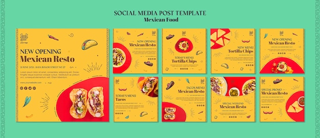 Meksykańskie jedzenie szablon mediów społecznościowych