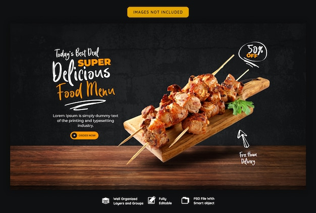 Menu baneru żywności i restauracja szablon sieci web
