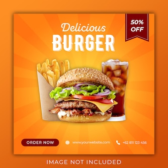 Menu Burger Promocja Social Media Instagram Szablon Transparent Post Premium Psd