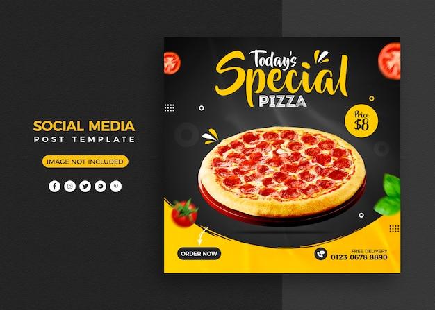 Menu pizzy i post w mediach społecznościowych restauracji i szablon banera na instagramie