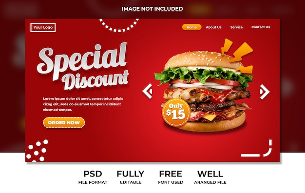 Menu restauracji fast food na czerwono