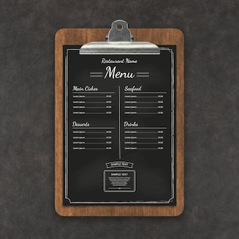 Menu restauracji makieta