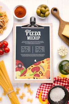 Menu restauracji makiety włoskiego jedzenia